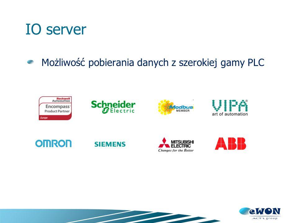 IO server Możliwość pobierania danych z szerokiej gamy PLC