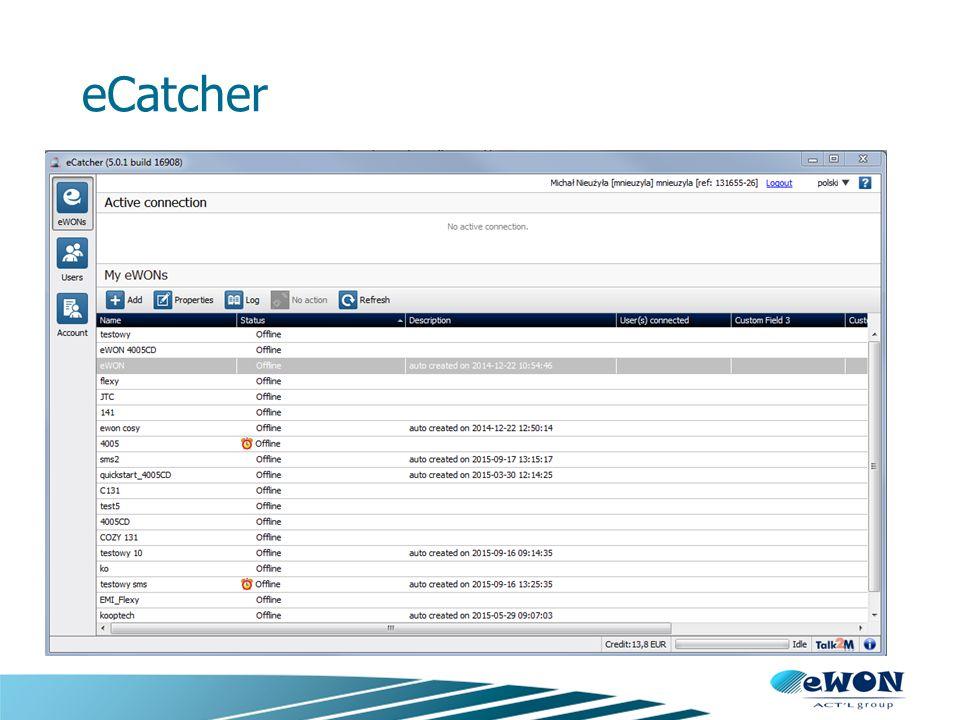 eWON Cosy Cosy 141 Dostęp przez WAN Switch LAN Port szeregowy/MPI