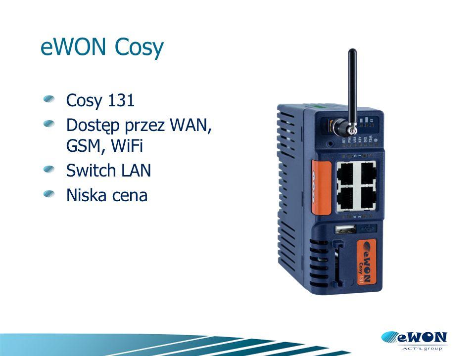 eWON x005CD Dostęp przez WAN Opcjonalny modem Switch LAN Dodatkowe funkcje Port szeregowy