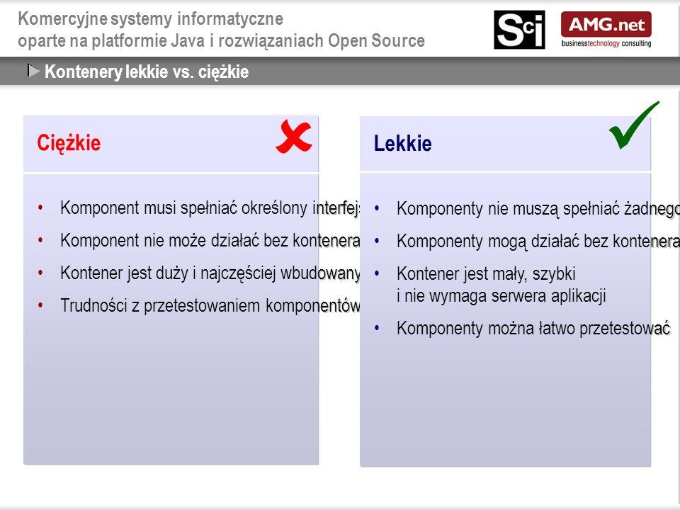 Komercyjne systemy informatyczne oparte na platformie Java i rozwiązaniach Open Source Kontenery lekkie vs.