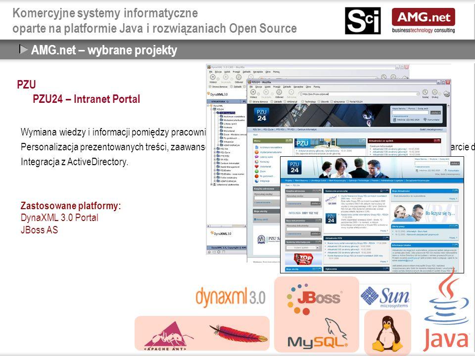 Komercyjne systemy informatyczne oparte na platformie Java i rozwiązaniach Open Source PZU PZU24 – Intranet Portal AMG.net – wybrane projekty Wymiana wiedzy i informacji pomiędzy pracownikami PZU.