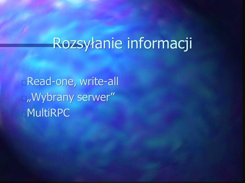 """Rozsyłanie informacji Read-one, write-all Read-one, write-all """"Wybrany serwer """"Wybrany serwer MultiRPC MultiRPC"""