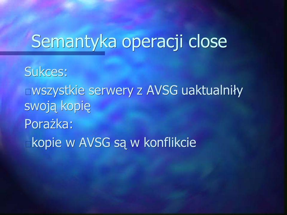 Semantyka operacji close Sukces: wszystkie serwery z AVSG uaktualniły swoją kopię wszystkie serwery z AVSG uaktualniły swoją kopięPorażka: kopie w AVSG są w konflikcie kopie w AVSG są w konflikcie