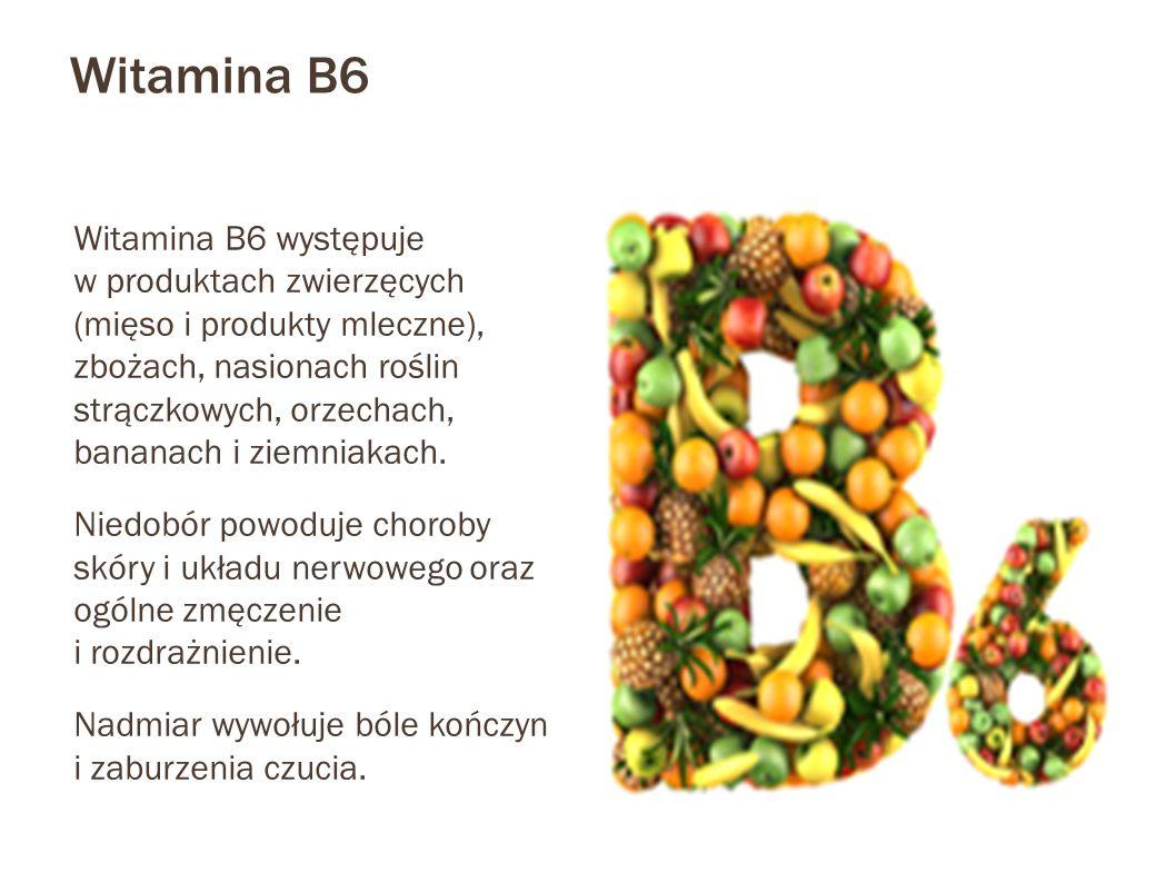 Witamina B6 Witamina B6 występuje w produktach zwierzęcych (mięso i produkty mleczne), zbożach, nasionach roślin strączkowych, orzechach, bananach i ziemniakach.