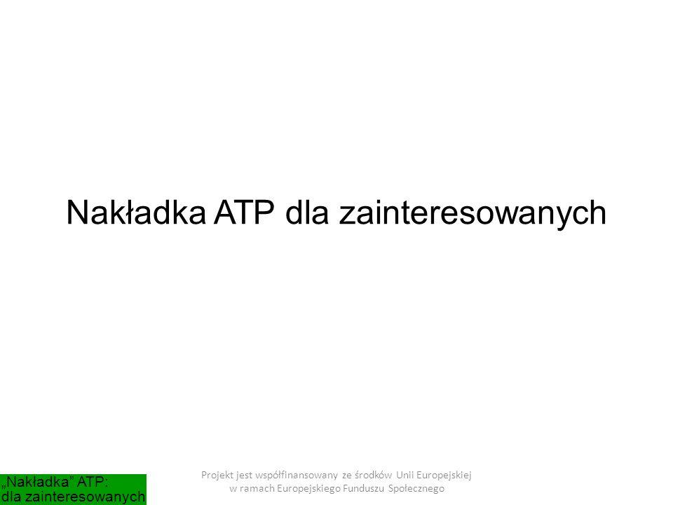 """Nakładka ATP dla zainteresowanych Projekt jest współfinansowany ze środków Unii Europejskiej w ramach Europejskiego Funduszu Społecznego """"Nakładka ATP: dla zainteresowanych"""