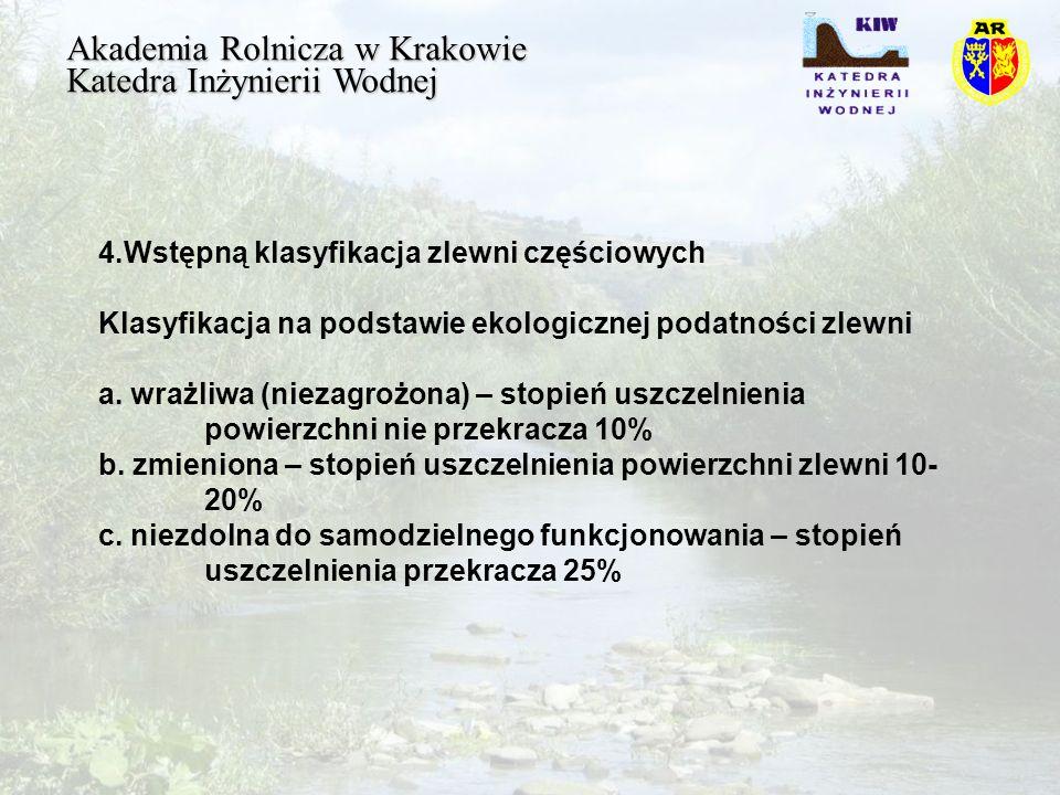 Akademia Rolnicza w Krakowie Katedra Inżynierii Wodnej 4.Wstępną klasyfikacja zlewni częściowych Klasyfikacja na podstawie ekologicznej podatności zlewni a.