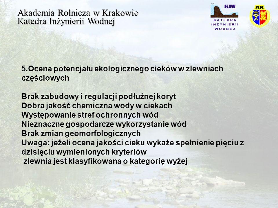 Akademia Rolnicza w Krakowie Katedra Inżynierii Wodnej 5.Ocena potencjału ekologicznego cieków w zlewniach częściowych Brak zabudowy i regulacji podłużnej koryt Dobra jakość chemiczna wody w ciekach Występowanie stref ochronnych wód Nieznaczne gospodarcze wykorzystanie wód Brak zmian geomorfologicznych Uwaga: jeżeli ocena jakości cieku wykaże spełnienie pięciu z dzisięciu wymienionych kryteriów zlewnia jest klasyfikowana o kategorię wyżej