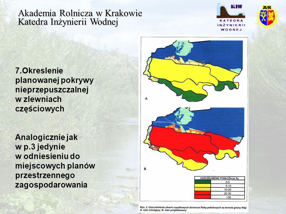 Akademia Rolnicza w Krakowie Katedra Inżynierii Wodnej 7.Okreslenie planowanej pokrywy nieprzepuszczalnej w zlewniach częściowych Analogicznie jak w p.3 jedynie w odniesieniu do miejscowych planów przestrzennego zagospodarowania