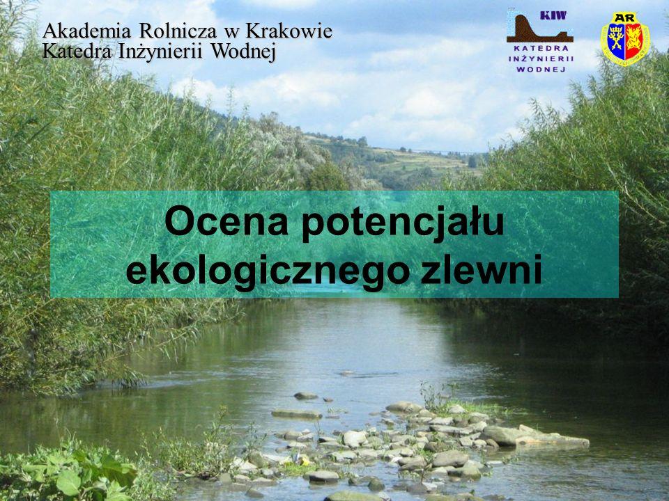 Ocena potencjału ekologicznego zlewni Akademia Rolnicza w Krakowie Katedra Inżynierii Wodnej