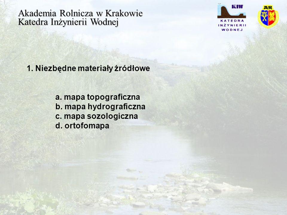 Akademia Rolnicza w Krakowie Katedra Inżynierii Wodnej 2.