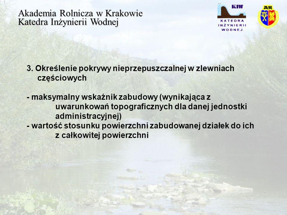 Akademia Rolnicza w Krakowie Katedra Inżynierii Wodnej 3.