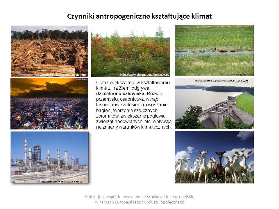 Czynniki antropogeniczne kształtujące klimat Projekt jest współfinansowany ze środków Unii Europejskiej w ramach Europejskiego Funduszu Społecznego Coraz większą rolę w kształtowaniu klimatu na Ziemi odgrywa działalność człowieka.