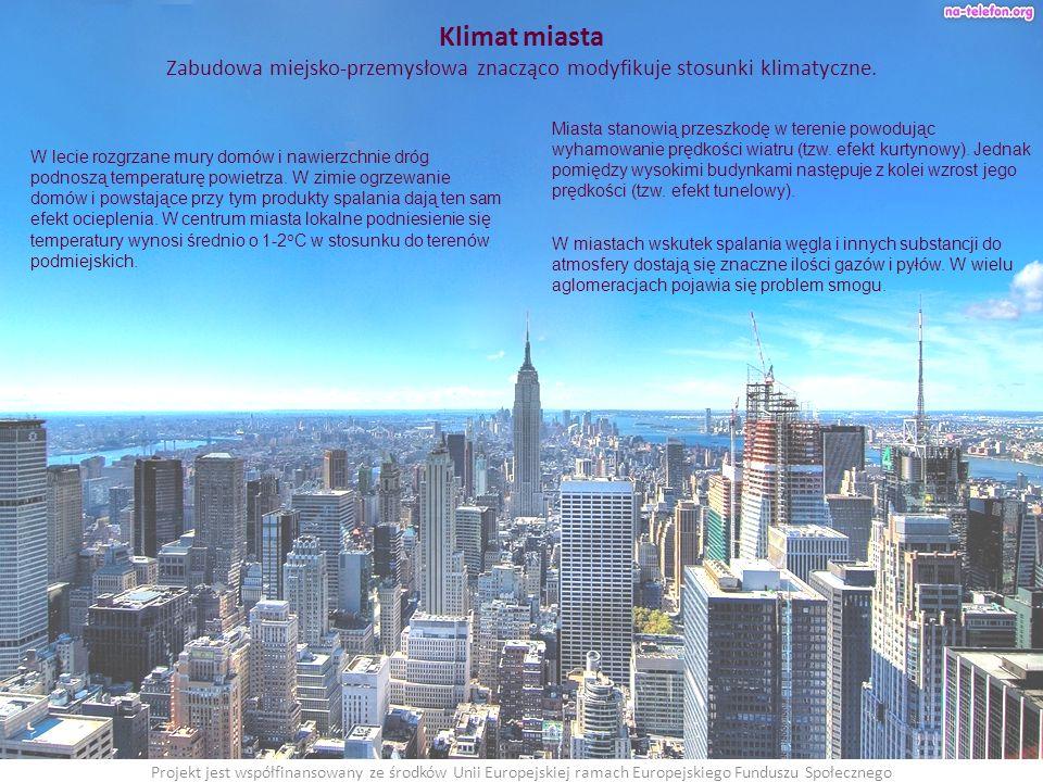Klimat miasta Zabudowa miejsko-przemysłowa znacząco modyfikuje stosunki klimatyczne.