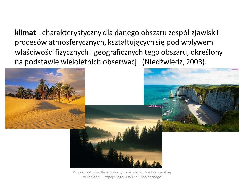 klimat - charakterystyczny dla danego obszaru zespół zjawisk i procesów atmosferycznych, kształtujących się pod wpływem właściwości fizycznych i geograficznych tego obszaru, określony na podstawie wieloletnich obserwacji (Niedźwiedź, 2003).