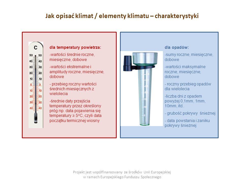 Projekt jest współfinansowany ze środków Unii Europejskiej w ramach Europejskiego Funduszu Społecznego Jak opisać klimat / elementy klimatu – charakterystyki dla temperatury powietrza: -wartości średnie roczne, miesięczne, dobowe -wartości ekstremalne i amplitudy roczne, miesięczne, dobowe - przebieg roczny wartości średnich miesięcznych z wielolecia -średnie daty przejścia temperatury przez określony próg np.
