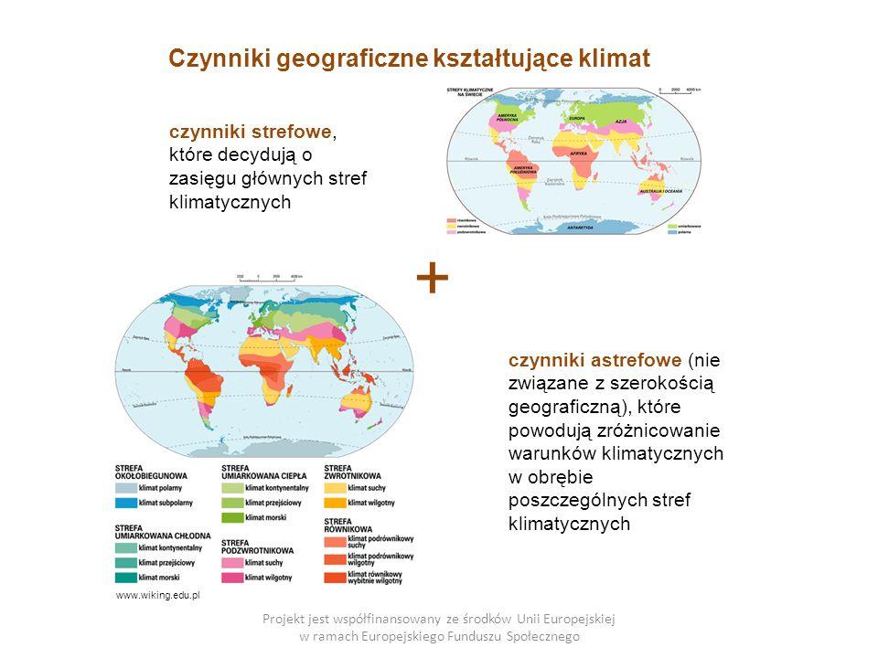 Projekt jest współfinansowany ze środków Unii Europejskiej w ramach Europejskiego Funduszu Społecznego Czynniki geograficzne kształtujące klimat czynniki strefowe, które decydują o zasięgu głównych stref klimatycznych czynniki astrefowe (nie związane z szerokością geograficzną), które powodują zróżnicowanie warunków klimatycznych w obrębie poszczególnych stref klimatycznych + www.wiking.edu.pl