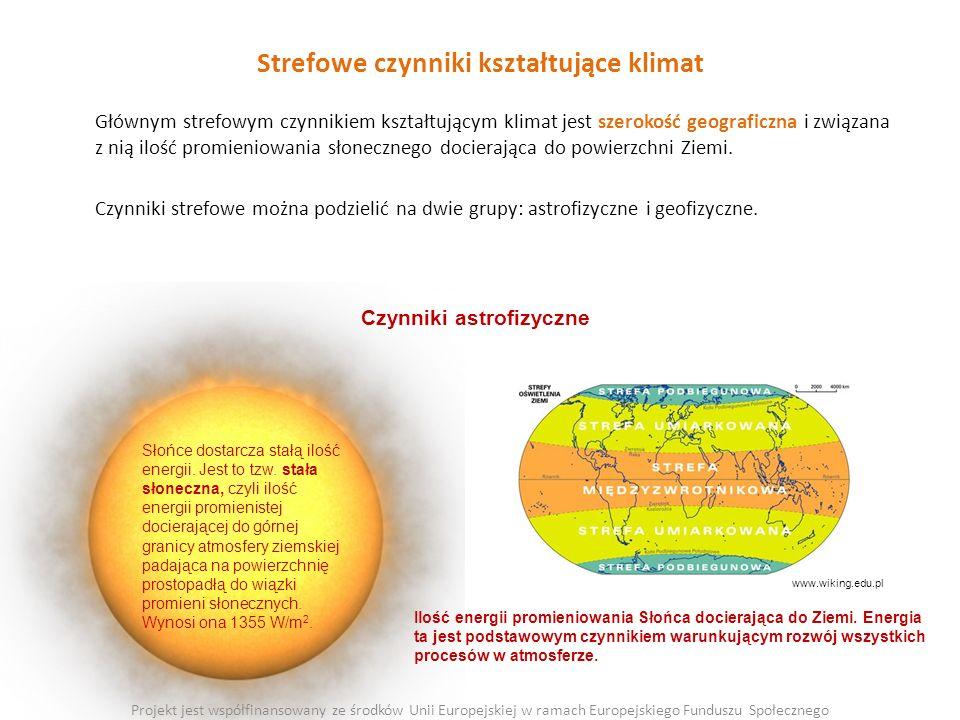 Strefowe czynniki kształtujące klimat Głównym strefowym czynnikiem kształtującym klimat jest szerokość geograficzna i związana z nią ilość promieniowania słonecznego docierająca do powierzchni Ziemi.