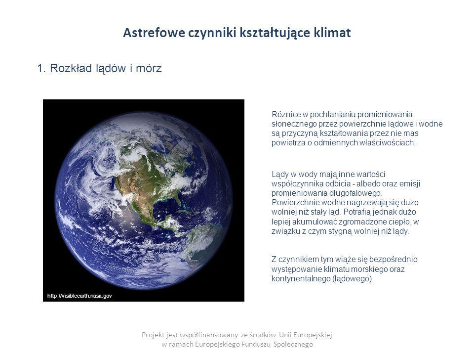 Astrefowe czynniki kształtujące klimat Projekt jest współfinansowany ze środków Unii Europejskiej w ramach Europejskiego Funduszu Społecznego 1.