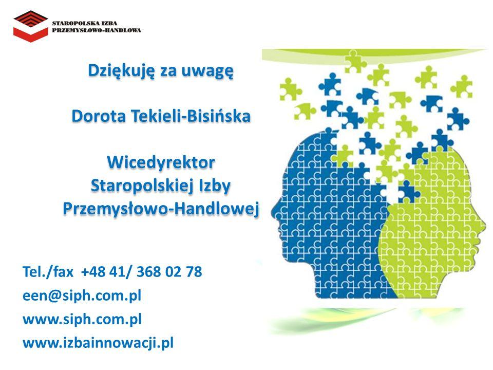 Dziękuję za uwagę Dorota Tekieli-Bisińska Wicedyrektor Staropolskiej Izby Przemysłowo-Handlowej Tel./fax +48 41/ 368 02 78 een@siph.com.pl www.siph.com.pl www.izbainnowacji.pl