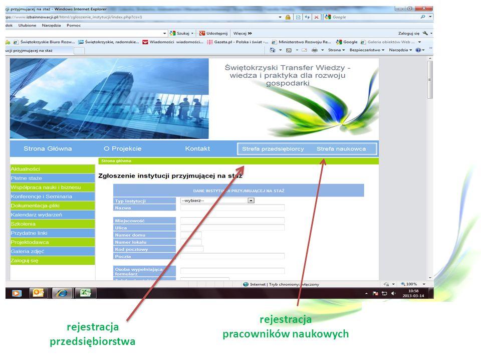 rejestracja przedsiębiorstwa rejestracja pracowników naukowych