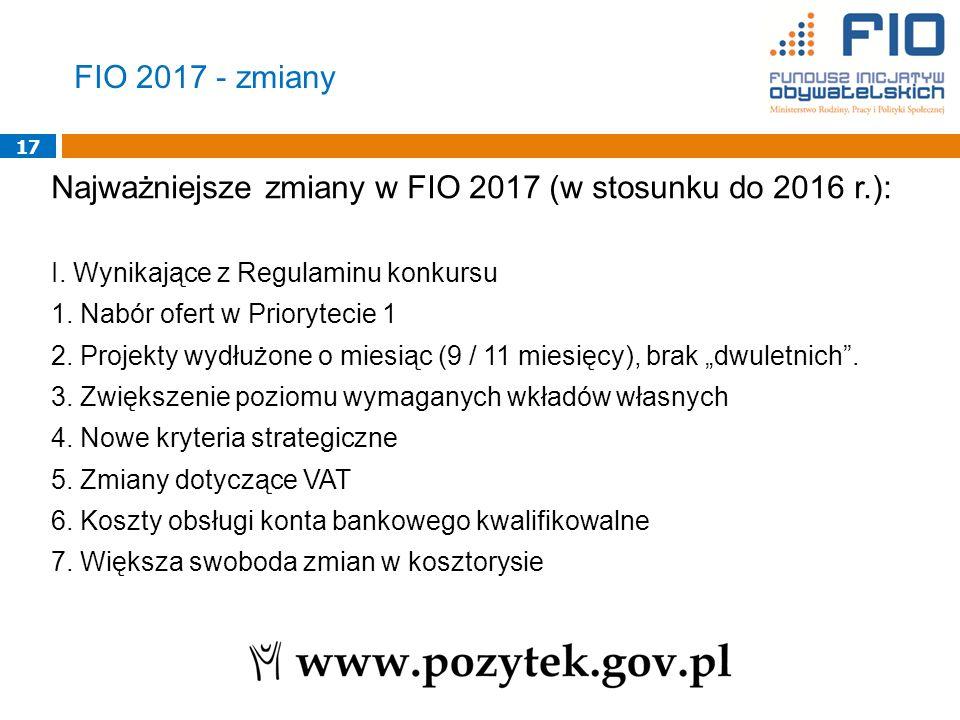 17 Najważniejsze zmiany w FIO 2017 (w stosunku do 2016 r.): I.