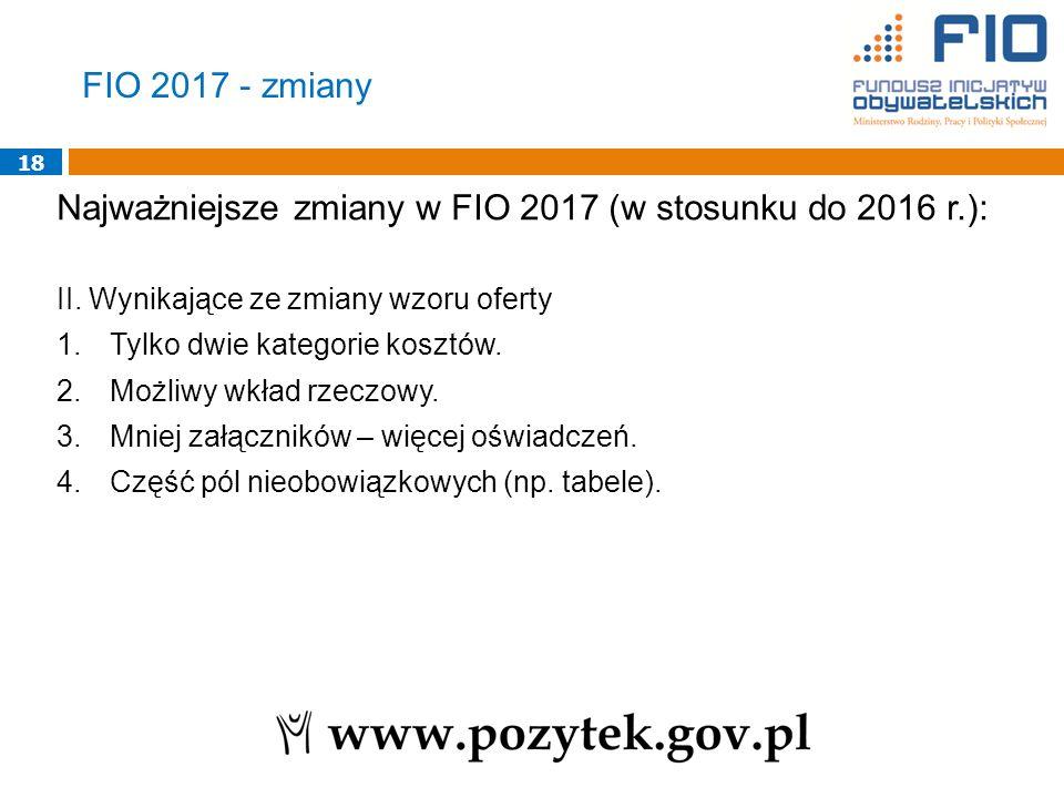 18 Najważniejsze zmiany w FIO 2017 (w stosunku do 2016 r.): II.