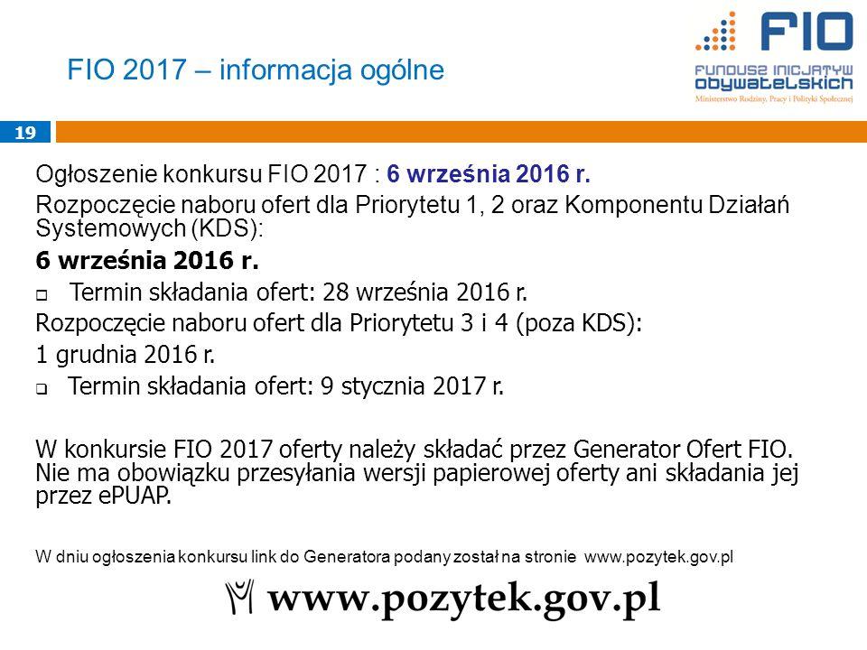 19 Ogłoszenie konkursu FIO 2017 : 6 września 2016 r.