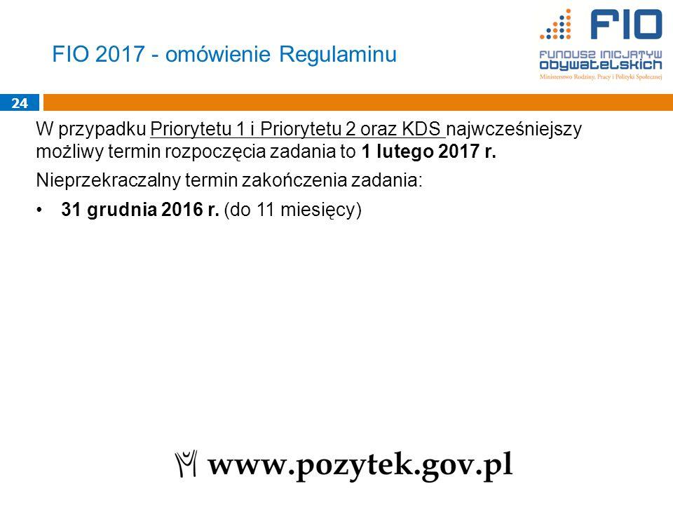 24 W przypadku Priorytetu 1 i Priorytetu 2 oraz KDS najwcześniejszy możliwy termin rozpoczęcia zadania to 1 lutego 2017 r.