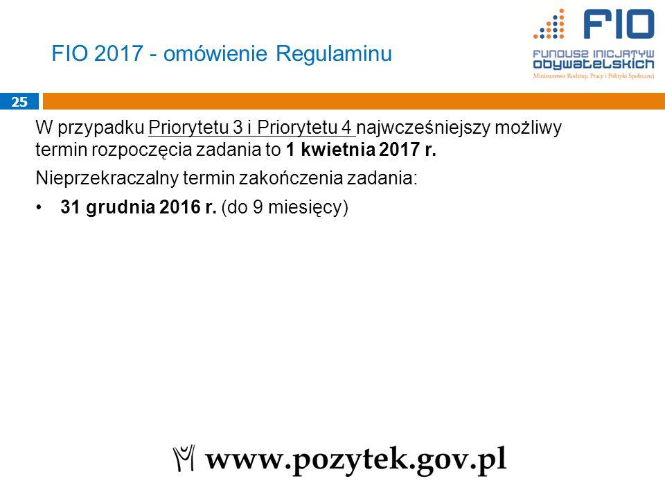 25 W przypadku Priorytetu 3 i Priorytetu 4 najwcześniejszy możliwy termin rozpoczęcia zadania to 1 kwietnia 2017 r.