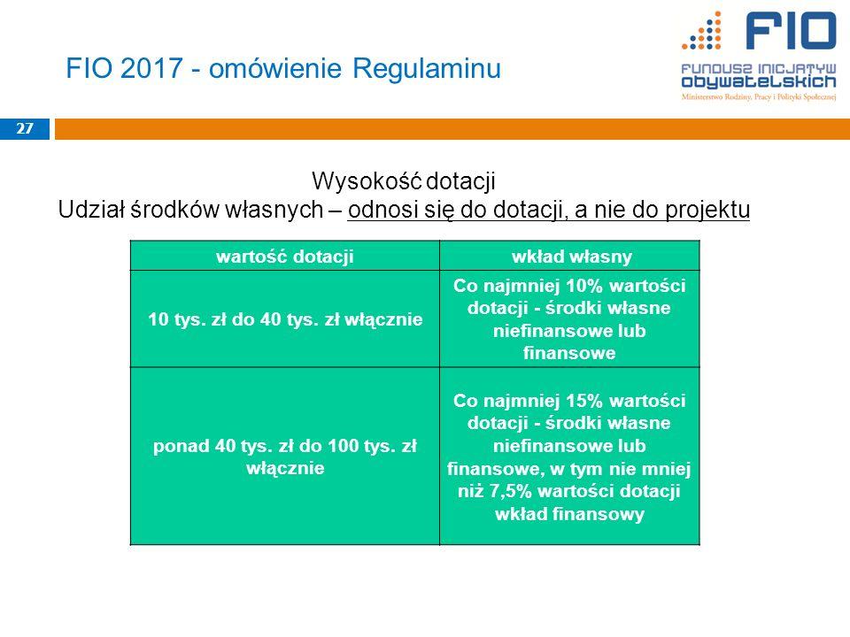 FIO 2017 - omówienie Regulaminu 27 Wysokość dotacji Udział środków własnych – odnosi się do dotacji, a nie do projektu wartość dotacji wkład własny 10 tys.