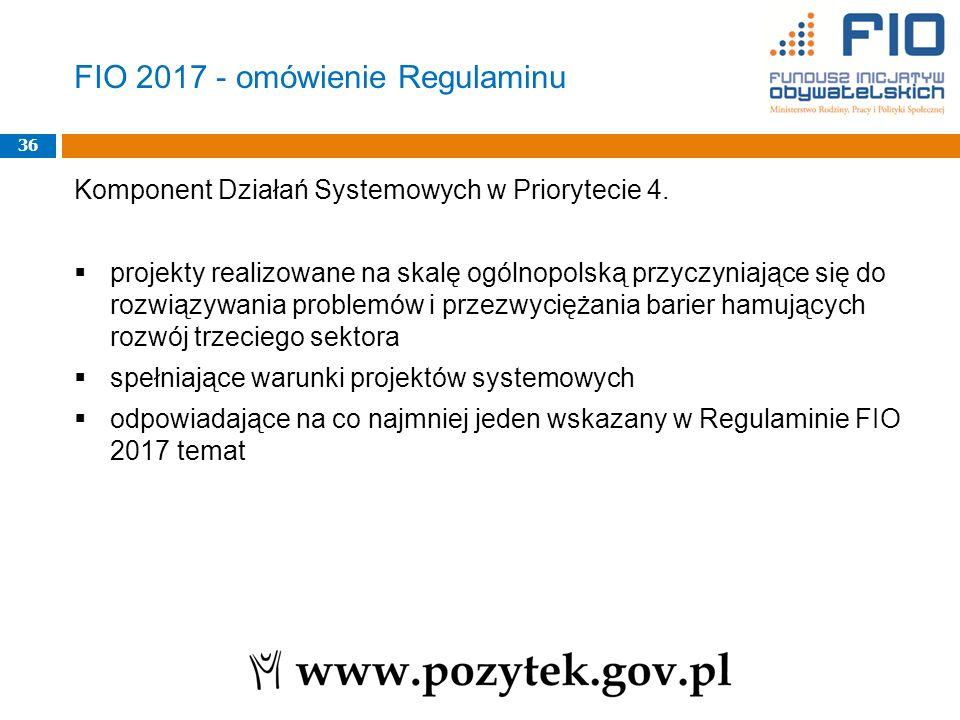 Komponent Działań Systemowych w Priorytecie 4.