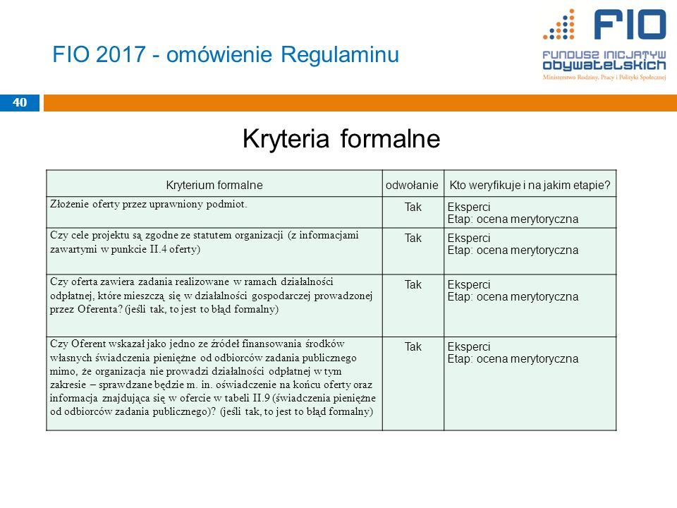 FIO 2017 - omówienie Regulaminu Kryteria formalne 40 Kryterium formalneodwołanieKto weryfikuje i na jakim etapie.