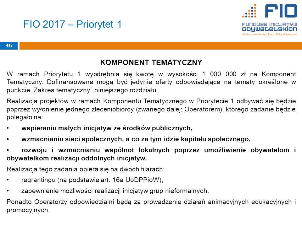FIO 2017 – Priorytet 1 KOMPONENT TEMATYCZNY W ramach Priorytetu 1 wyodrębnia się kwotę w wysokości 1 000 000 zł na Komponent Tematyczny.