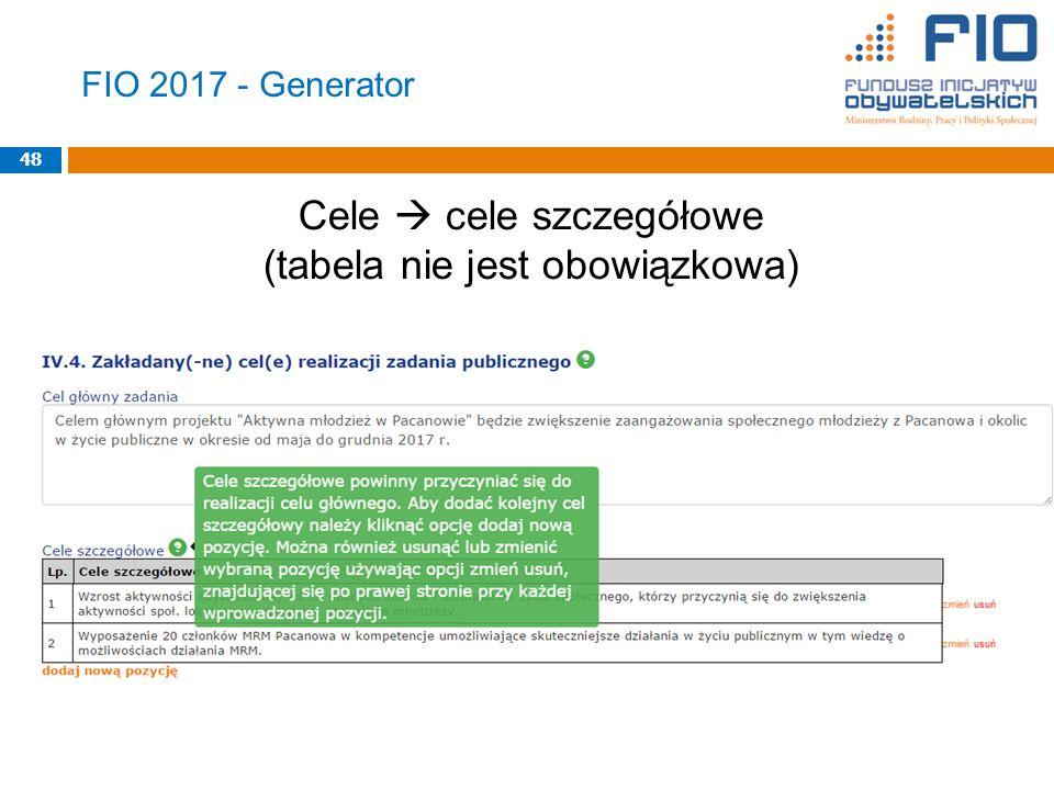 FIO 2017 - Generator Cele  cele szczegółowe (tabela nie jest obowiązkowa) 48