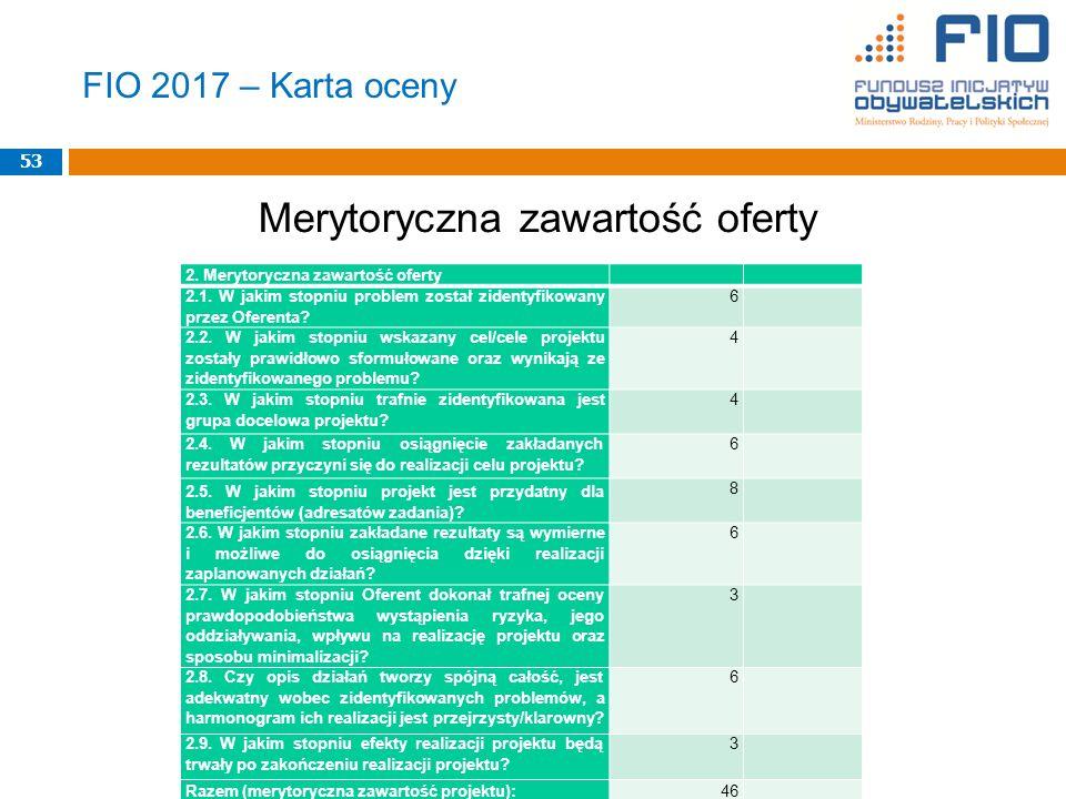 FIO 2017 – Karta oceny Merytoryczna zawartość oferty 53 2.