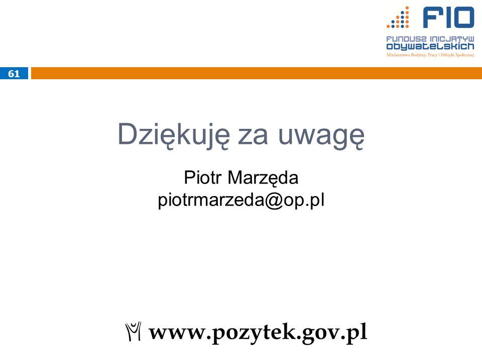 Dziękuję za uwagę Piotr Marzęda piotrmarzeda@op.pl 61