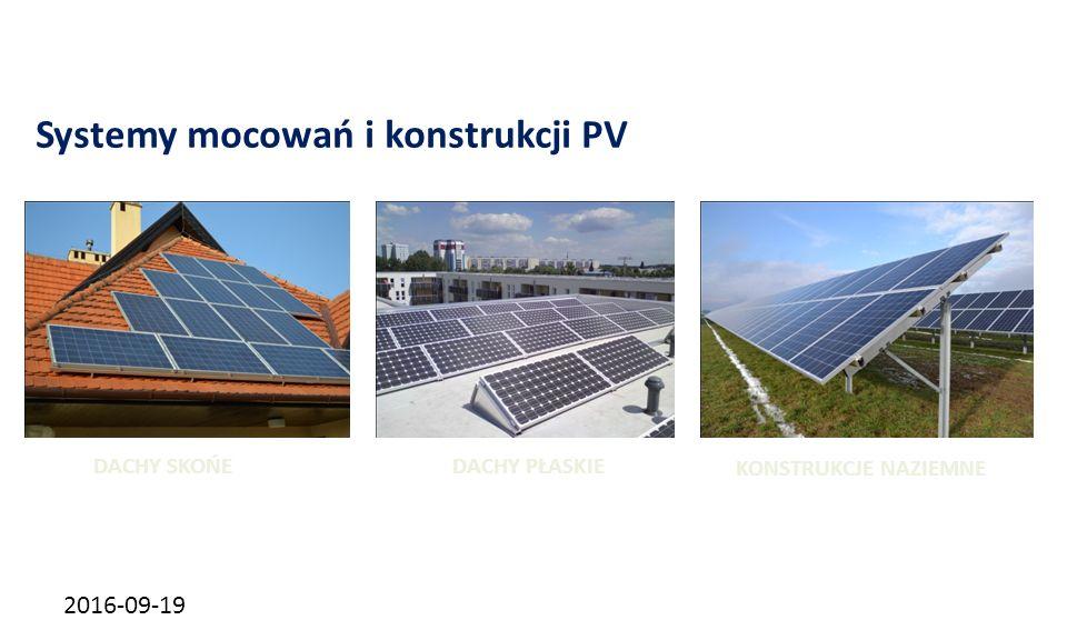 2016-09-19 Systemy mocowań i konstrukcji PV DACHY SKOŃEDACHY PŁASKIE KONSTRUKCJE NAZIEMNE