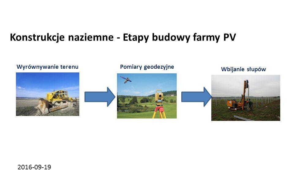 2016-09-19 Konstrukcje naziemne - Etapy budowy farmy PV Wyrównywanie terenuPomiary geodezyjne Wbijanie słupów