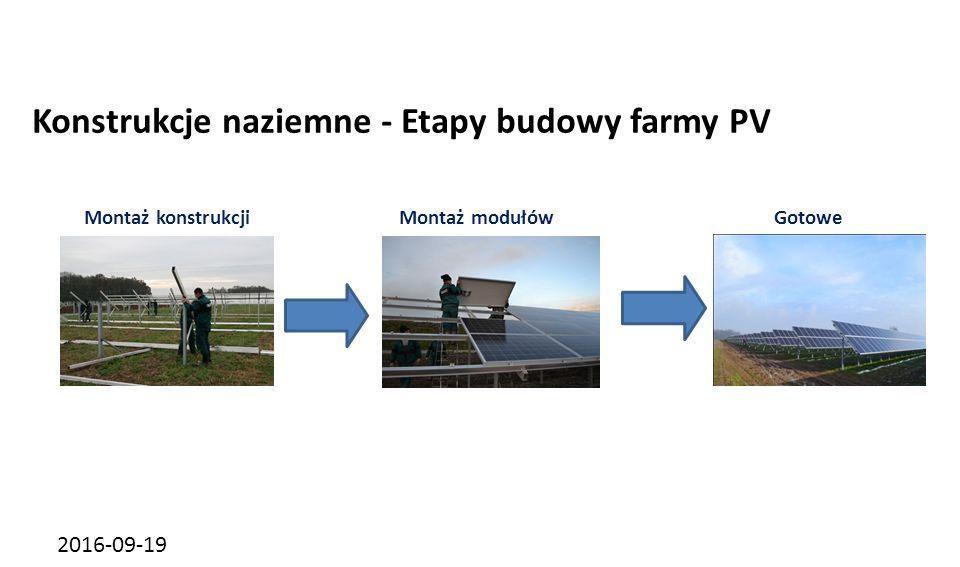 2016-09-19 Konstrukcje naziemne - Etapy budowy farmy PV Montaż konstrukcjiMontaż modułówGotowe