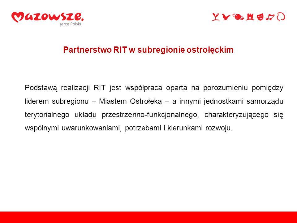 Podstawą realizacji RIT jest współpraca oparta na porozumieniu pomiędzy liderem subregionu – Miastem Ostrołęką – a innymi jednostkami samorządu teryto