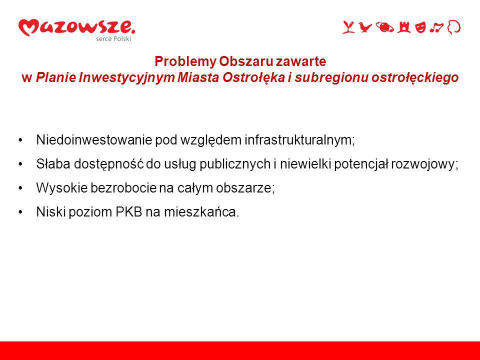Niedoinwestowanie pod względem infrastrukturalnym; Słaba dostępność do usług publicznych i niewielki potencjał rozwojowy; Wysokie bezrobocie na całym