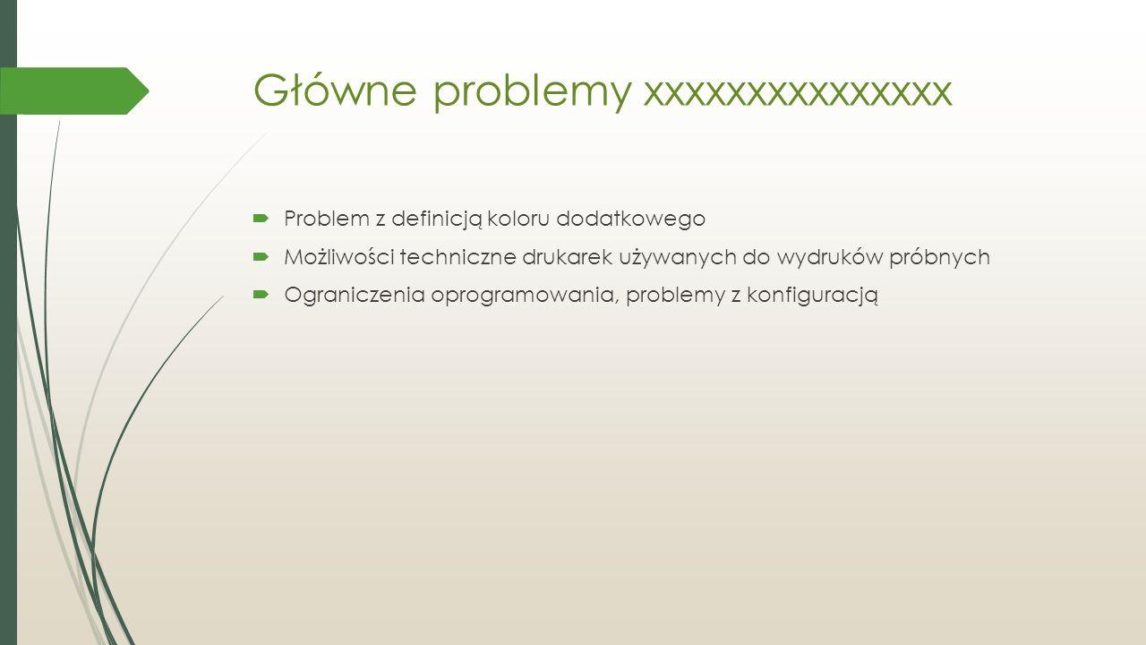 Główne problemy xxxxxxxxxxxxxxx  Problem z definicją koloru dodatkowego  Możliwości techniczne drukarek używanych do wydruków próbnych  Ograniczenia oprogramowania, problemy z konfiguracją