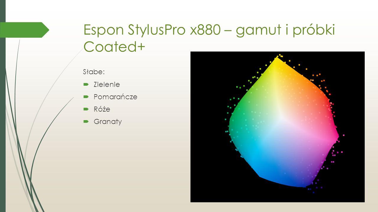 Espon StylusPro x880 – gamut i próbki Coated+ Słabe:  Zielenie  Pomarańcze  Róże  Granaty