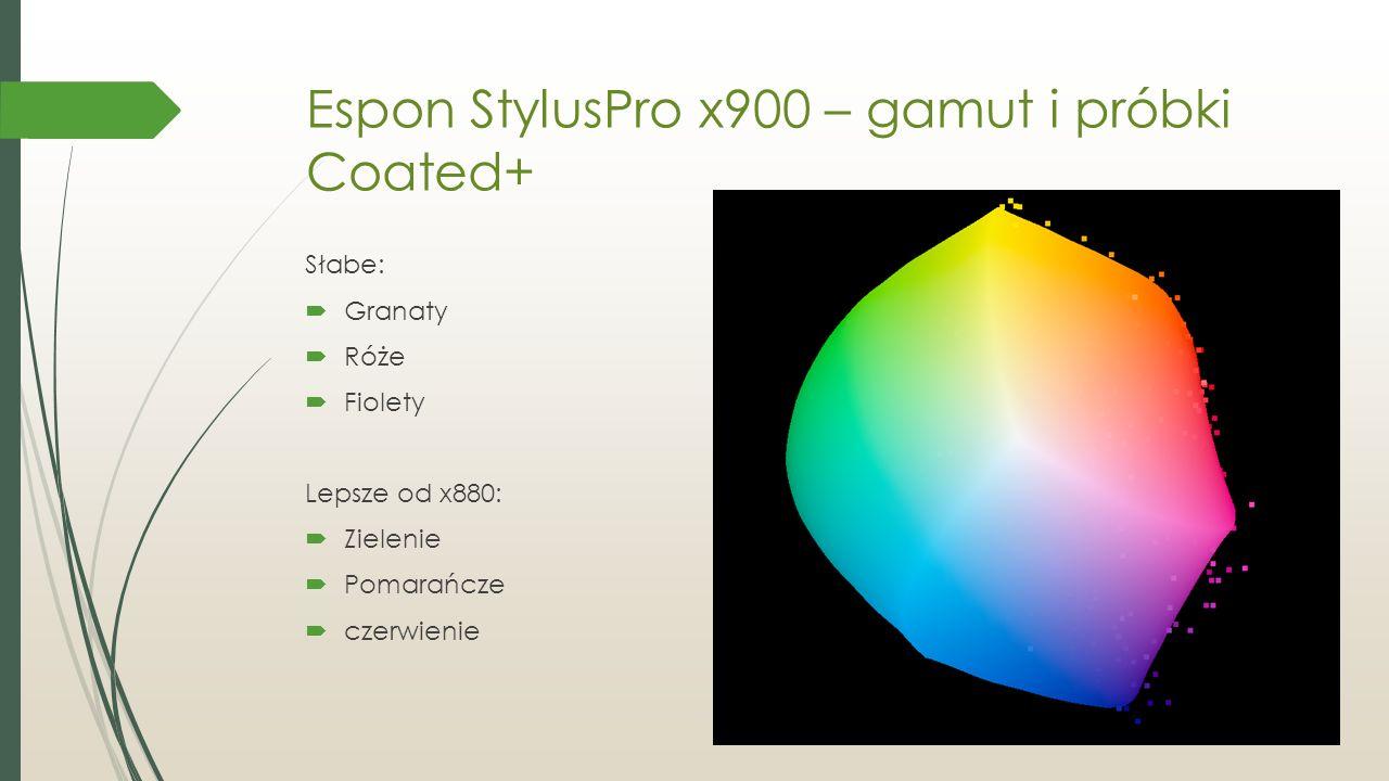 Espon StylusPro x900 – gamut i próbki Coated+ Słabe:  Granaty  Róże  Fiolety Lepsze od x880:  Zielenie  Pomarańcze  czerwienie