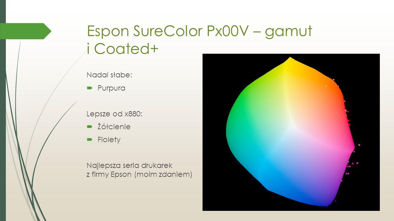 Espon SureColor Px00V – gamut i Coated+ Nadal słabe:  Purpura Lepsze od x880:  Żółcienie  Fiolety Najlepsza seria drukarek z firmy Epson (moim zdaniem)