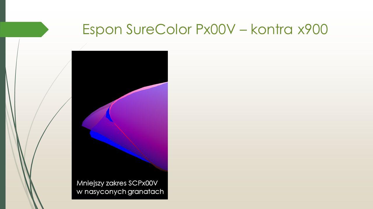 Espon SureColor Px00V – kontra x900 Mniejszy zakres SCPx00V w nasyconych granatach