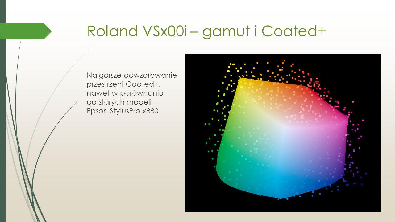 Roland VSx00i – gamut i Coated+ Najgorsze odwzorowanie przestrzeni Coated+, nawet w porównaniu do starych modeli Epson StylusPro x880