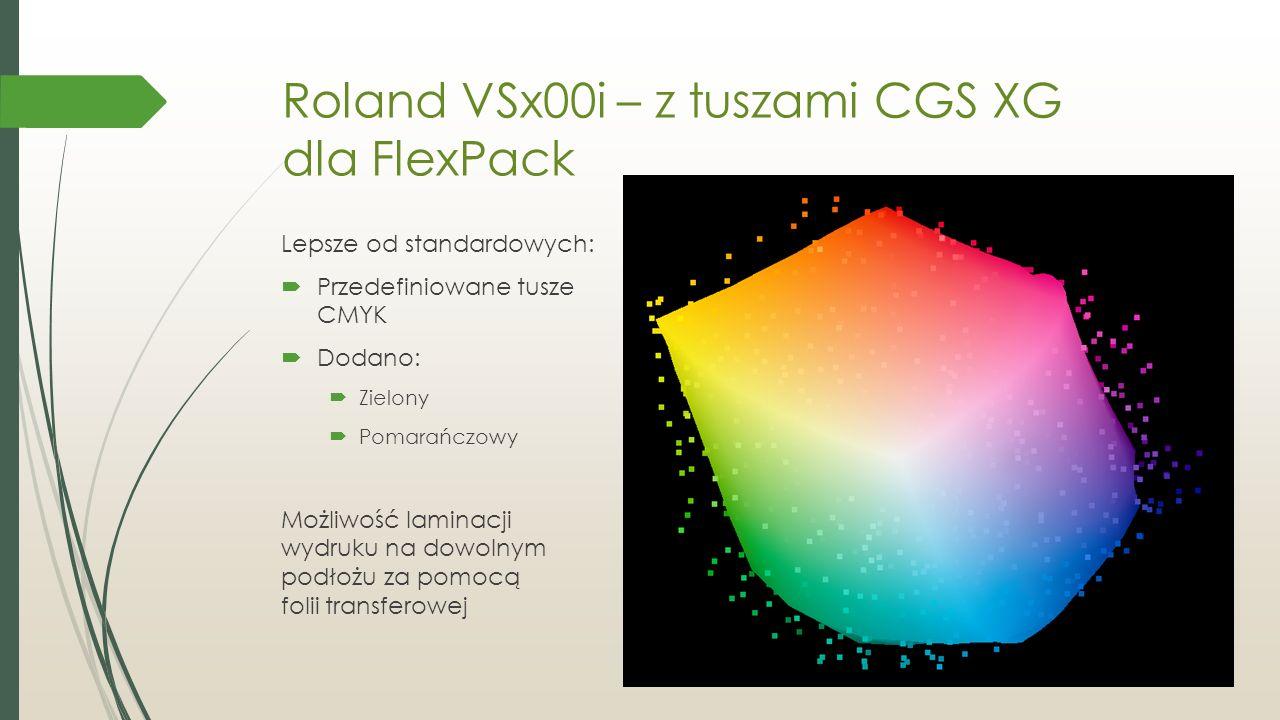 Roland VSx00i – z tuszami CGS XG dla FlexPack Lepsze od standardowych:  Przedefiniowane tusze CMYK  Dodano:  Zielony  Pomarańczowy Możliwość laminacji wydruku na dowolnym podłożu za pomocą folii transferowej
