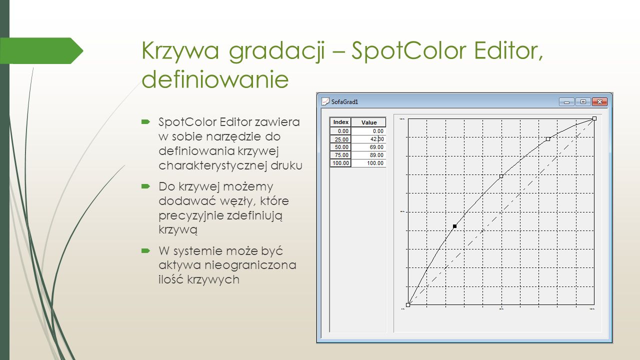 Krzywa gradacji – SpotColor Editor, definiowanie  SpotColor Editor zawiera w sobie narzędzie do definiowania krzywej charakterystycznej druku  Do krzywej możemy dodawać węzły, które precyzyjnie zdefiniują krzywą  W systemie może być aktywa nieograniczona ilość krzywych