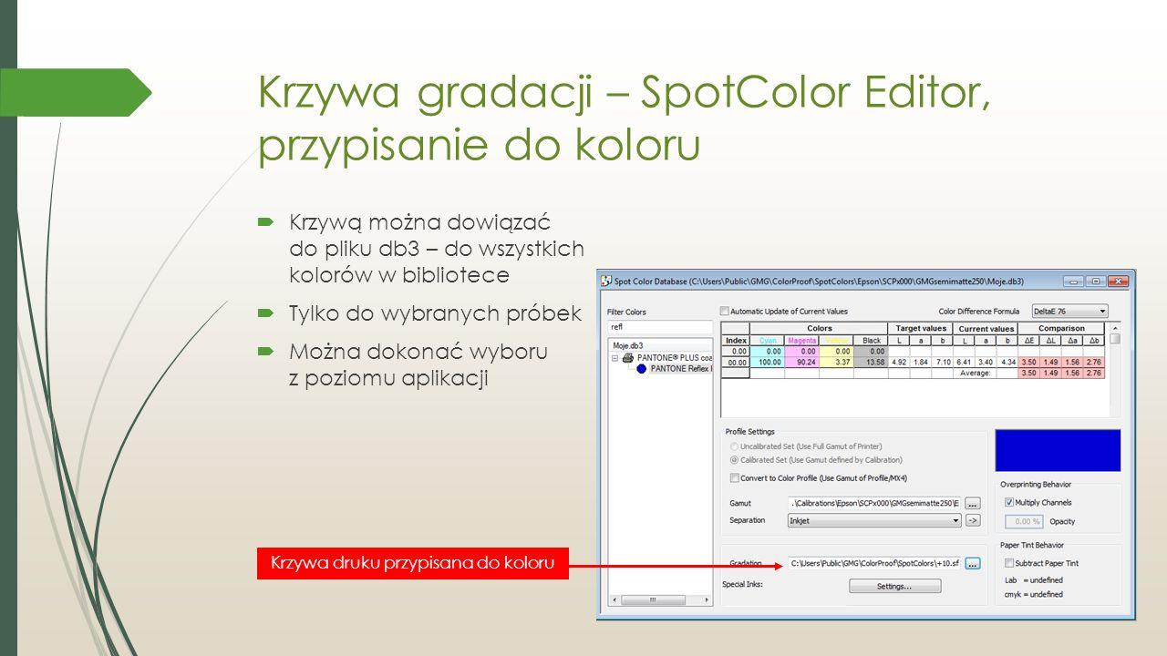 Krzywa gradacji – SpotColor Editor, przypisanie do koloru  Krzywą można dowiązać do pliku db3 – do wszystkich kolorów w bibliotece  Tylko do wybranych próbek  Można dokonać wyboru z poziomu aplikacji Krzywa druku przypisana do koloru